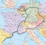 Mapa d'Europa on és mostra l'itinerari del viatge