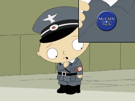 Xapa de l'uniforme d'Stewie on es pot llegir McCAIN/PALIN